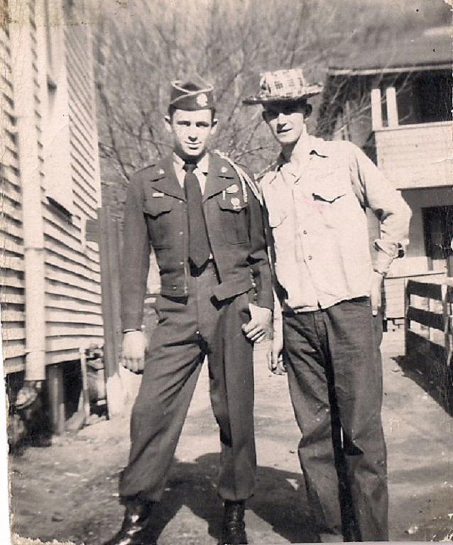 Tiller, Sam in Ron McCormicks Army uniform & Harold Cahigas