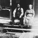 Scott Taylor and Alice Taylor on their front porch at Monitor, WV in 1923.