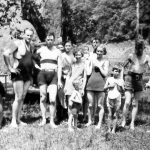 Taylor Family outing at Gilbert,WV Johnny Jones, Clovis McCormack with Lula Taylor behind, Elizabeth Seplocha Taylor behind Virginia Taylor, behind Jack Ursel Taylor, Mildred Taylor in front of Clyde Taylor, Bobby Wendell, Ray Wendell. Elizabeth Taylor Jones probably took the picture.