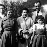 Eliabeth Sepolcha Tayor, Virginia McCormack, Elizabeth Keathley, Jess Keathley and Gwendolyn Brooks taken during a visit the the home of Clyde and Elizabeth Taylor of Eleanor, WV.
