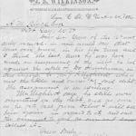 J B Wilkinson, Attorney Letter dated 1886