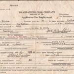 1945 Island Creek Coal Company Application for Employment - Joe Mullins