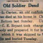 M.L. Carter, a Confederate veteran, is dead in Logan, Logan Democrat, 19 September 1912. Courtesy of Brandon Ray Kirk