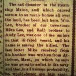 William Lee killed aboard USS Maine