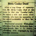 Edward Bittle Conley obit, Logan Democrat, 28 September 1911