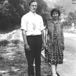 Joe Hatfield and Virginia Taylor walking the railroad tracks