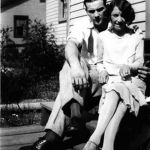 Johnny Jones and Elizabeth Taylor (engaged) -1927 - back steps of the Scott Taylor home.